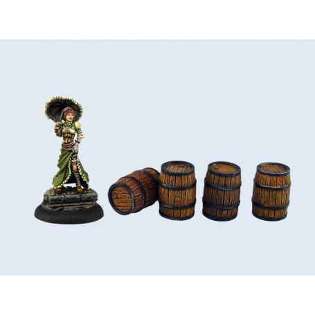 Medium Wooden Barrels (4), Barricades et Tonneaux