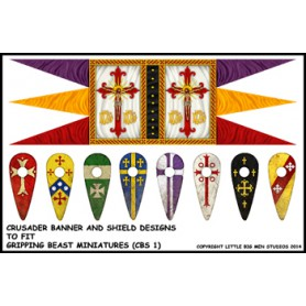 Crusades Saga banner and shields