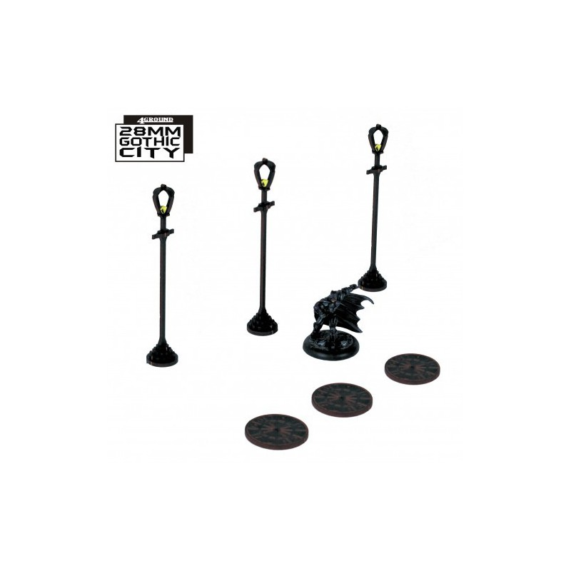 3x Sewer Cover Type A and 3x Lamp Post Type A, Gothic City de 4ground
