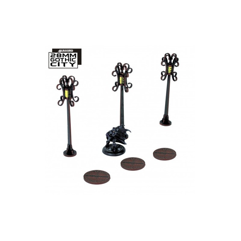 3x Sewer Cover Type A and 3x Lamp Post Type B