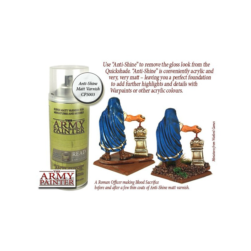 Anti Shine Matt Varnish, Bombe de couleur, Army Painter