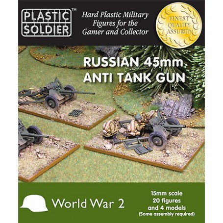 15Mm Ww2 Russian 45Mm Anti Tank Gun, Plastic Soldier