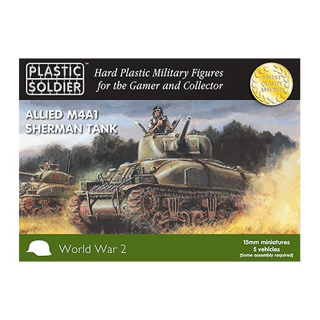 15Mm Ww2 Allied M4A1 75Mm Sherman Tank, Plastic Soldier
