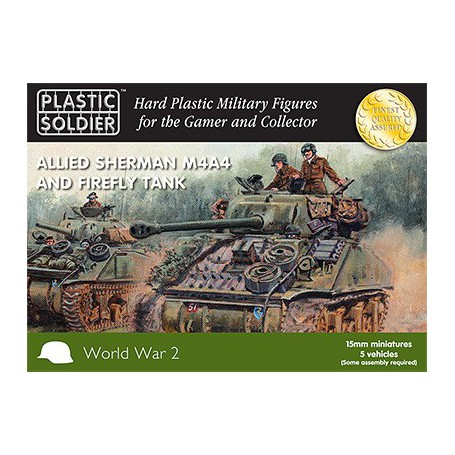 15Mm Ww2 Allied M4A4 And Firefly Sherman Tank, Plastic Soldier