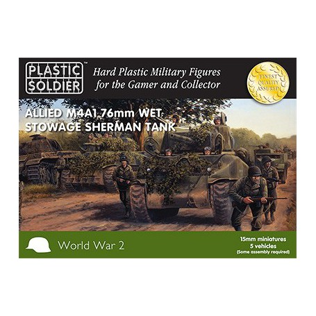 15Mm Ww2 Allied M4A1 76Mm Wet Stowage Sherman, Plastic Soldier