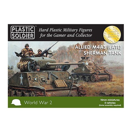 15Mm Ww2 Allied M4A3 (Late) Sherman Tank, Plastic Soldier