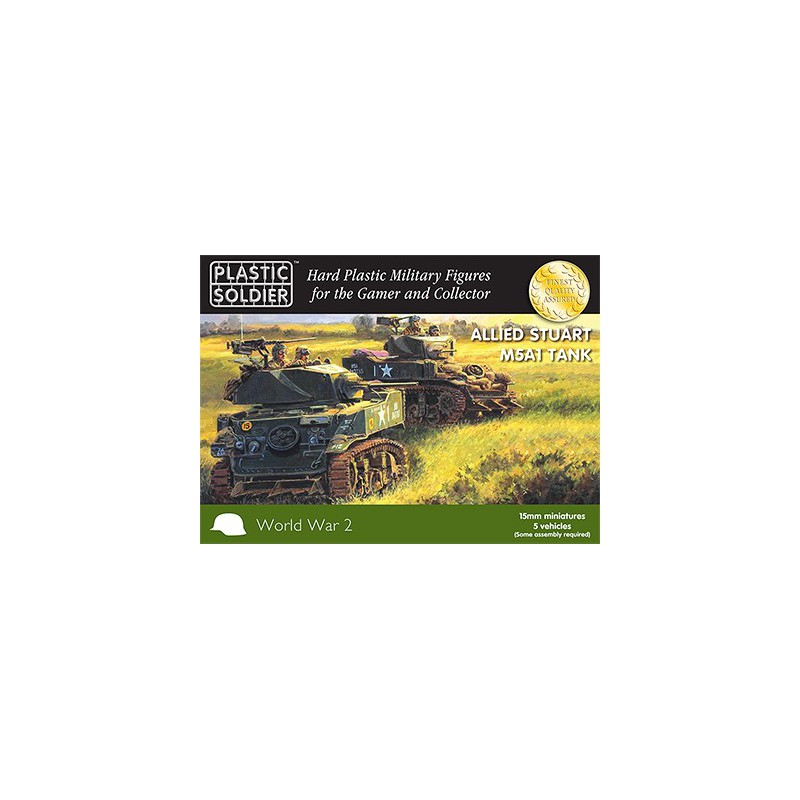 15mm WW2 Allied M5A1 Stuart Tank, Plastic Soldier