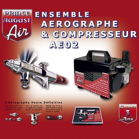 Ensemble Aérographe Haute Définition + Compresseur Prince August