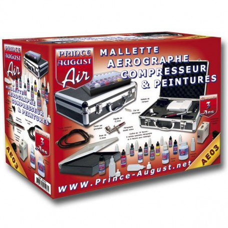 Air Premium Mallette Aerographe Compresseur + Ultra Cleaner De Prince August