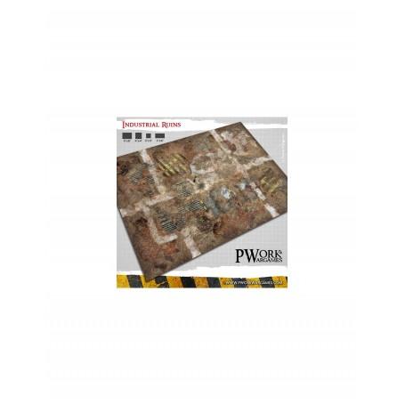 PWork Wargames - Tapis de jeu néoprène Industrial Ruins 120x120cm