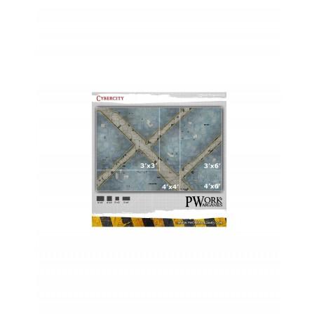 PWork Wargames - Tapis de jeu néoprène Cybercity 90x90 cm