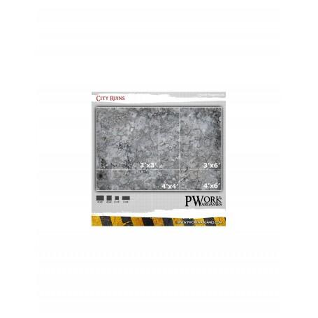 "PWork Wargames - Tapis de jeu néoprène City Ruins 44x60"""