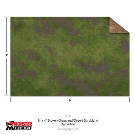 Monster Scenery - 3x3 Broken Grassland / Desert Scrubland Game Mat