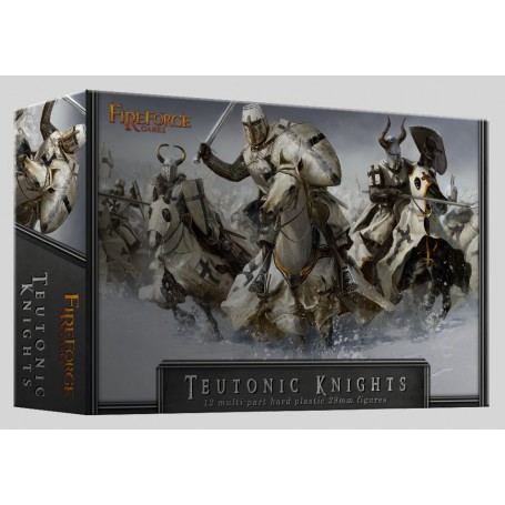 Teutonic Knights Cavalry (12 Mounted Figurines Plastiques)