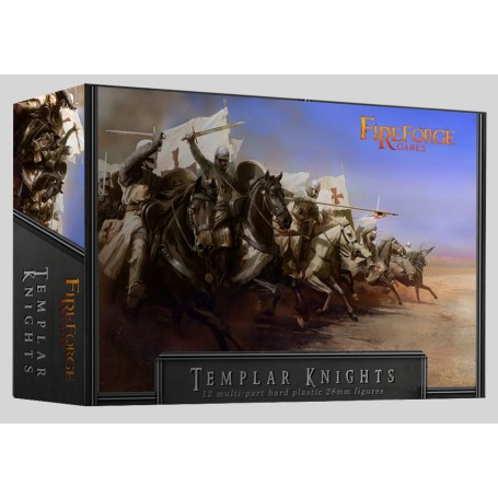 TEMPLAR KNIGHTS CAVALRY (12 MOUNTED PLASTIC FIGURES)