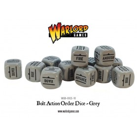 Bolt Action Orders Dice - Grey (12), Bolt Action